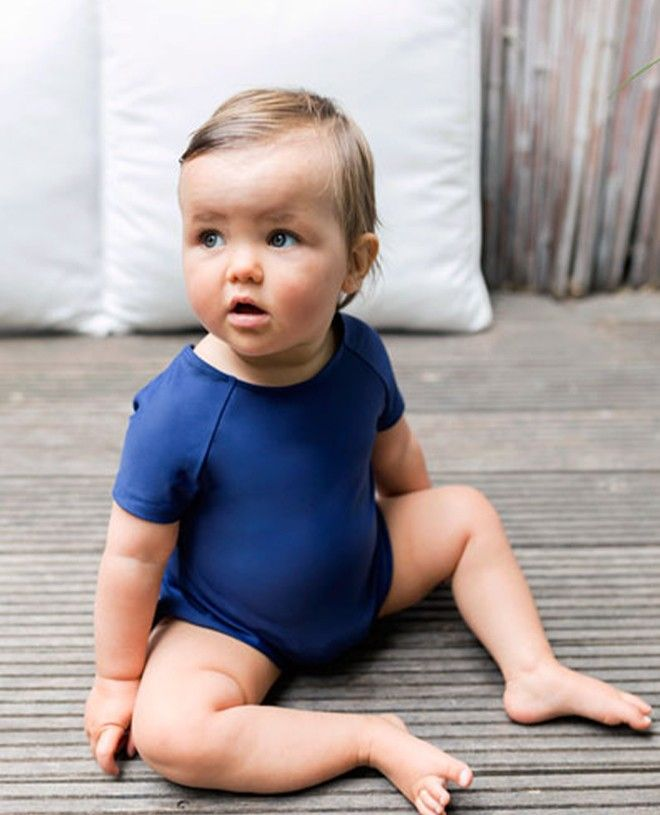 short sleeve baby sun protective swimsuit in Blueberry blue by Canopea