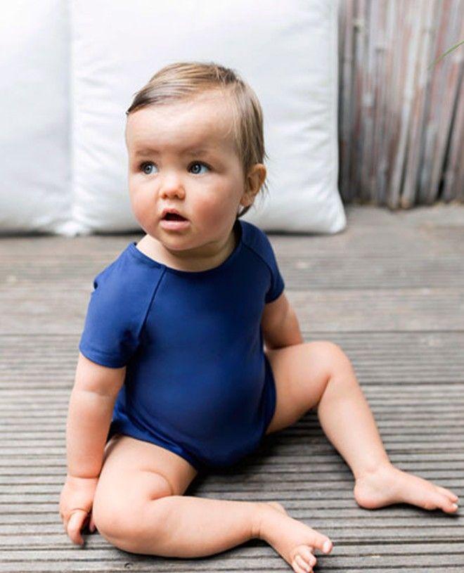 Maillot de bain anti-UV bébé manches courtes couleur bleu Blueberry