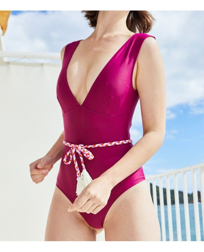 Sun protective swimsuit for women PALERMA plum red by Canopea