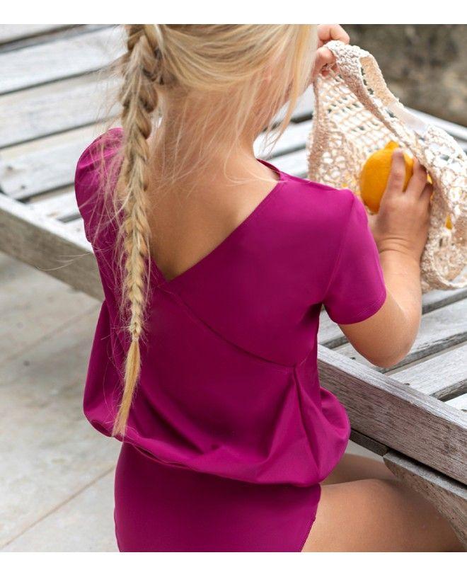 Maillot de bain une pièce anti-uv rouge prune pour fille de Canopea