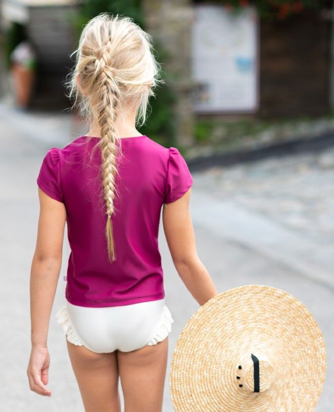T-shirt anti UV Canopea rouge Prune pour fille et bébé