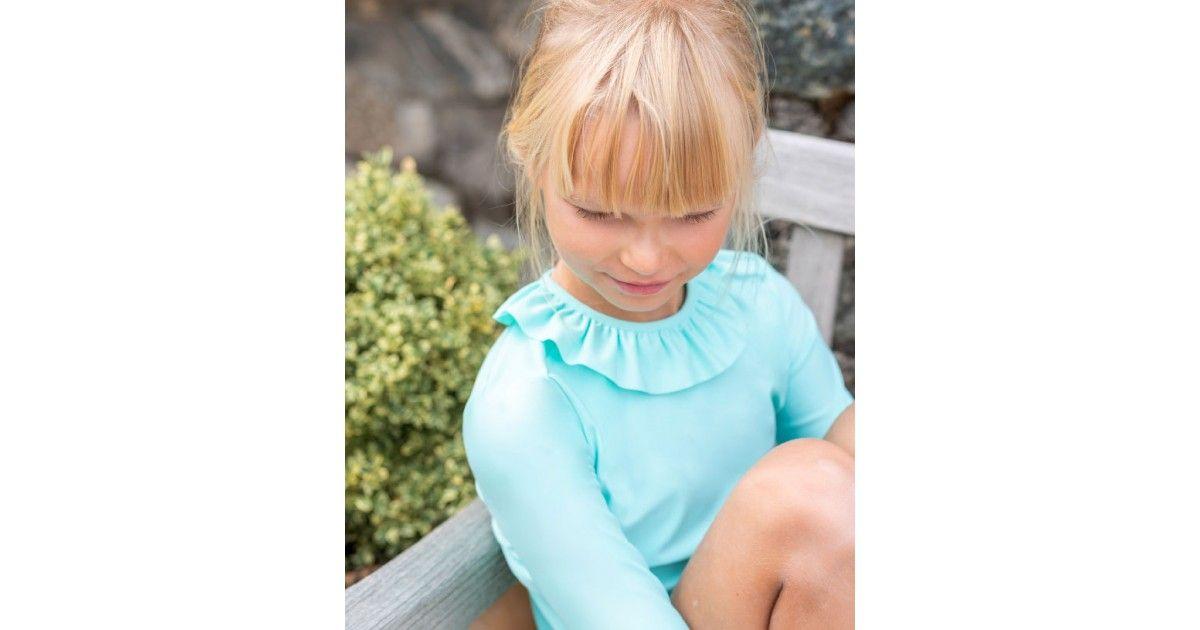 Tee-shirt anti-UV fille ou bébé vert aqua de Canopea