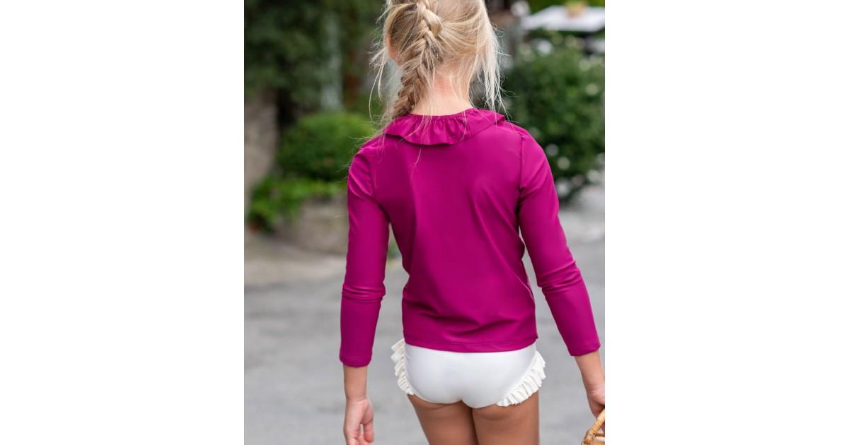 T-shirt anti-UV fille ou bébé rouge prune de Canopea