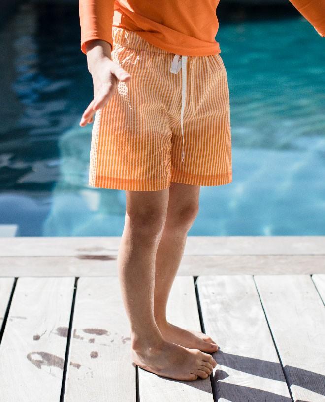 orange seersucker swim shorts for boys