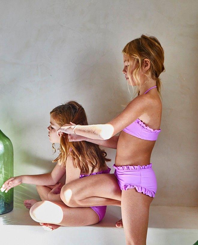Maillot de bain anti UV couleur rose Orchid pour fille