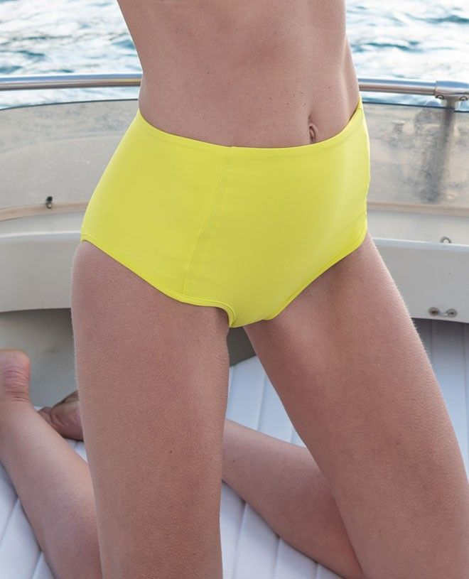 Sun protective bikini bottom for women LEANDRA in Limoncello yellow by Canopea