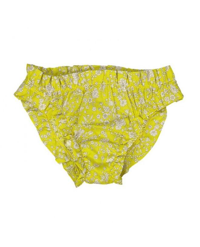 culotte de bain en tissu liberty avec fronces sur les cuisses et taille