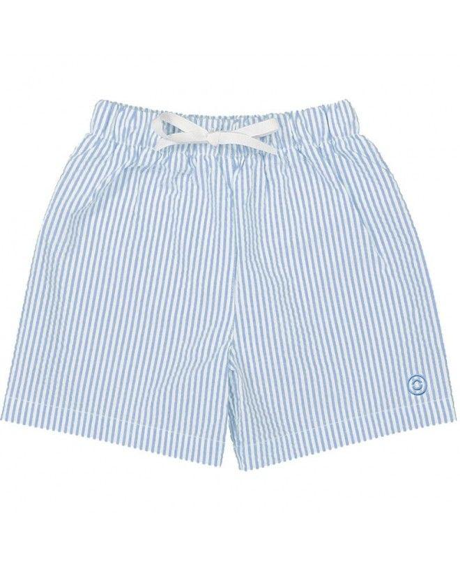 blue seersucker swim shorts for boys