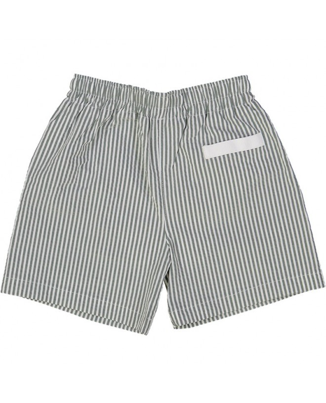 Pine Green seersucker swim shorts for boys