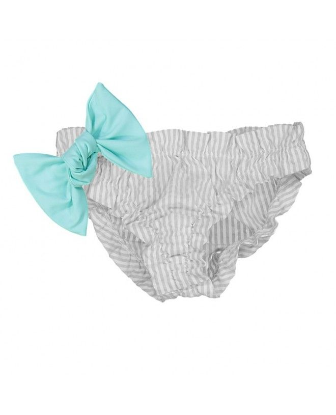 Grey seersucker bikini for baby girls with frowns and a large removable aqua green bow