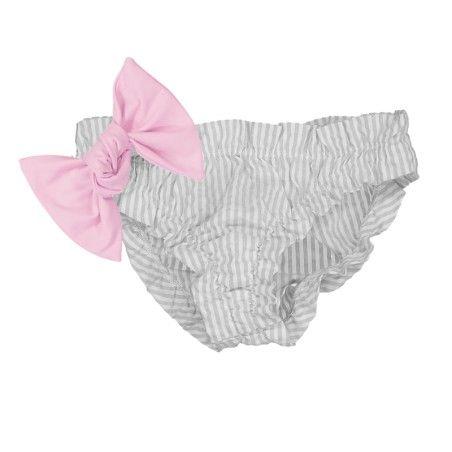 Culotte de bain à fronce pour fille gris clair avec gros noeud amovible rose dragee