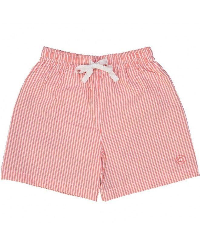 Fragola red seersucker swim shorts for boys by Canopea