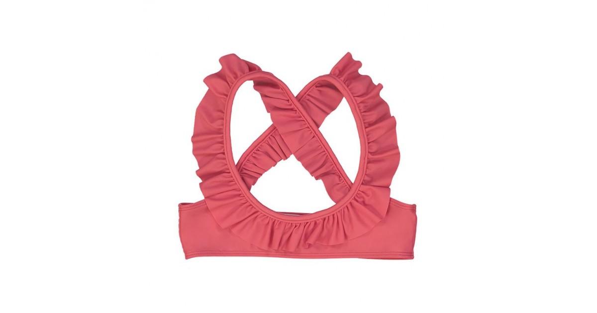 Haut de maillot de bain anti UV couleur rouge Fragola pour fille