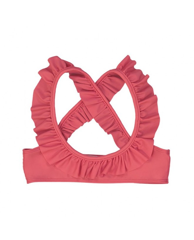 9adcd17abb Rose sun protective bikini top with ruffles in Fragola red for girls