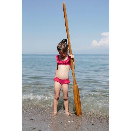 Fragola red sun protective bikini with ruffles for girls