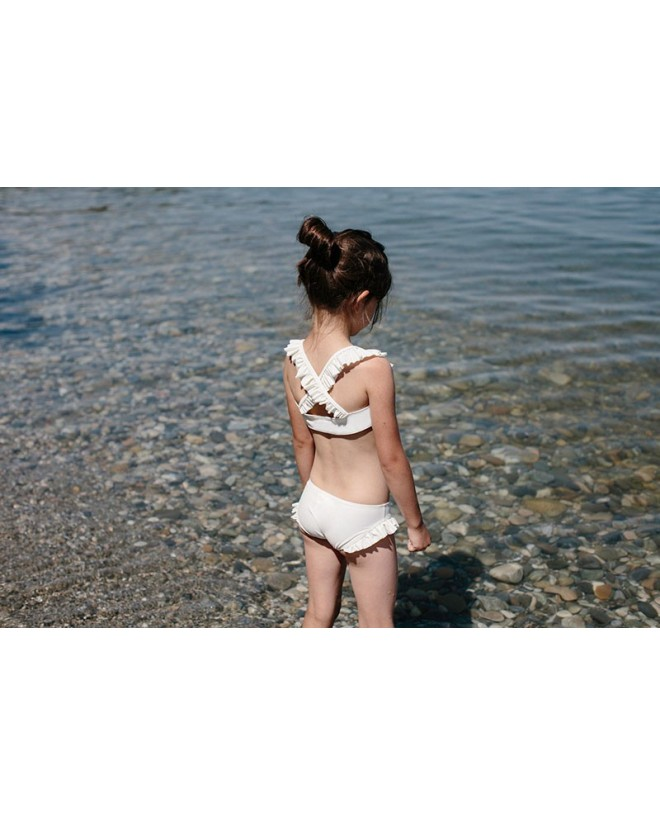 Maillot de bain anti UV couleur blanc Vanille pour fille