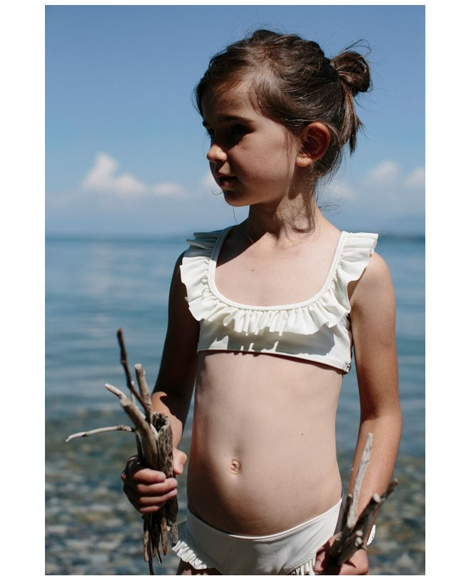 Vanilla white sun protective bikini with ruffles for girls