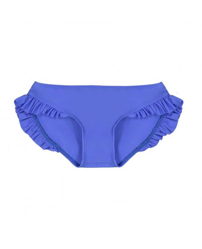Indigo blue sun protective bikini bottom with ruffles for girl