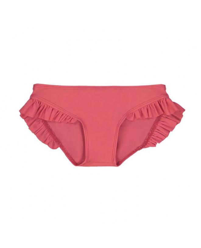 Fragola red sun protective bikini bottom with ruffles for girl