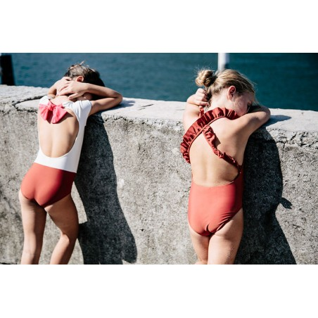 Bi-color Sienna sun protective swimwear for girls by Canopea