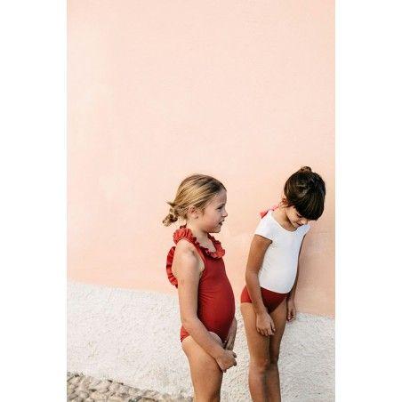 Fille portant un de bain une pièce anti-uv bi-couleur pour fille de Canopea