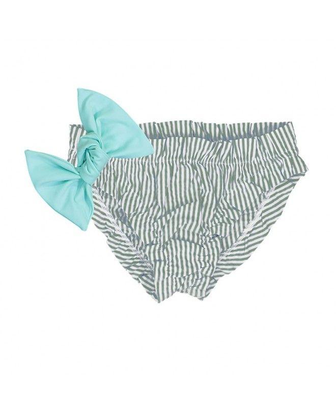 Culotte de bain à fronce bleu avec gros noeud amovible