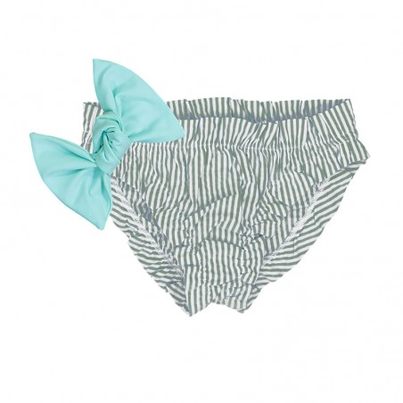 Pine green seersucker bikini for baby girls with frowns and a large removable aqua green bow