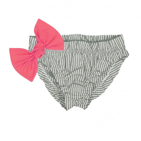 Pine green seersucker bikini for baby girls with frowns and a large removable neon pink bow