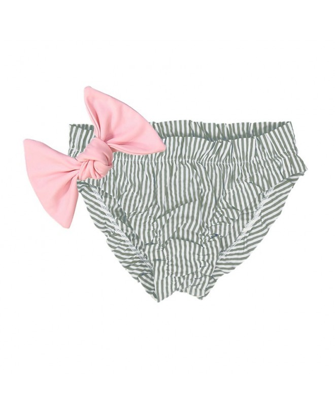 Pine green seersucker bikini for baby girls with frowns and a large removable dragee pink bow