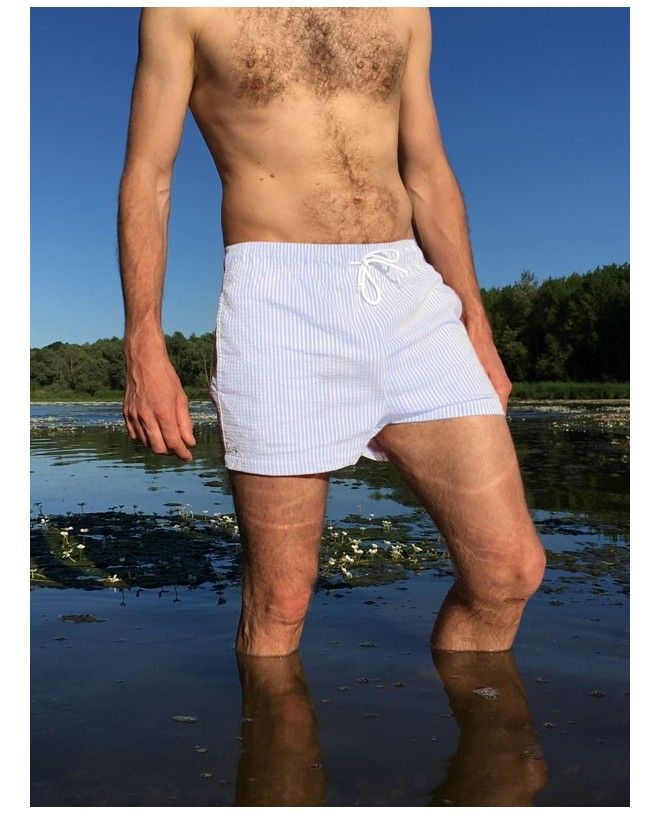 Short de bain en seersucker bleu slate pour homme