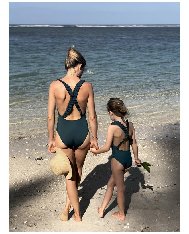Stone pine green sun protective swimwear for women, mother and daughters by Canopea