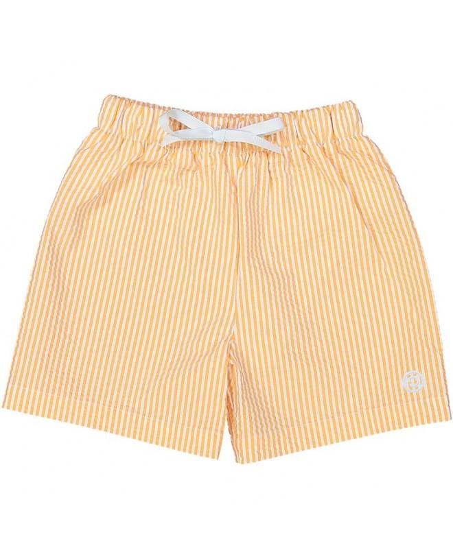 short en seersucker orange pour garçon