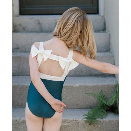 Maillot de bain une piece anti-uv vert pin Layla pour fille de Canopea