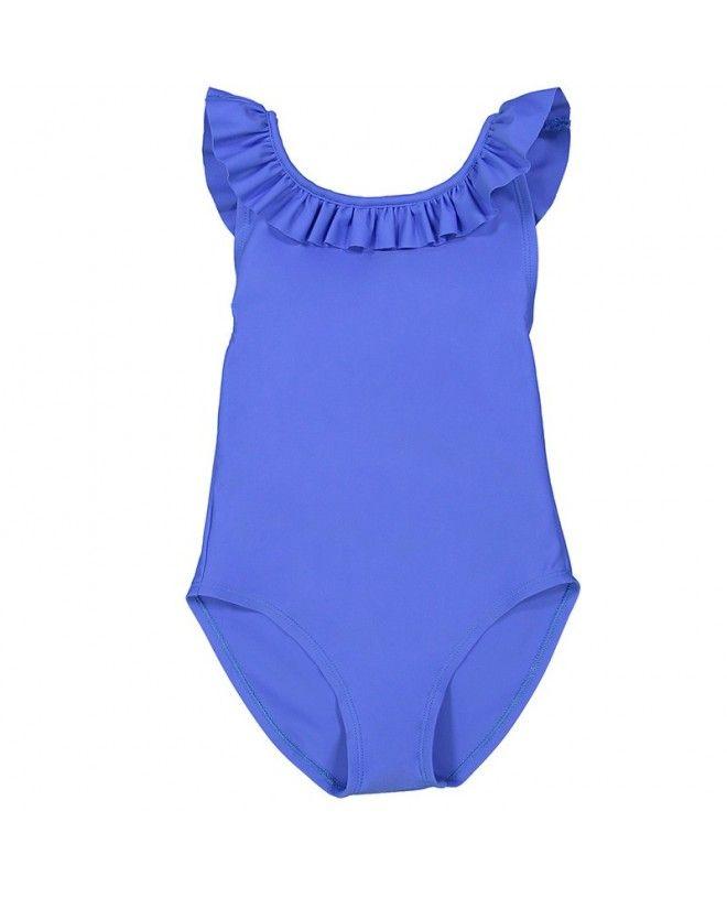maillot une piece anti-uv indigo dos croisé pour filles