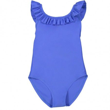 indigo sun protective one-piece crossed back swimsuit for girls
