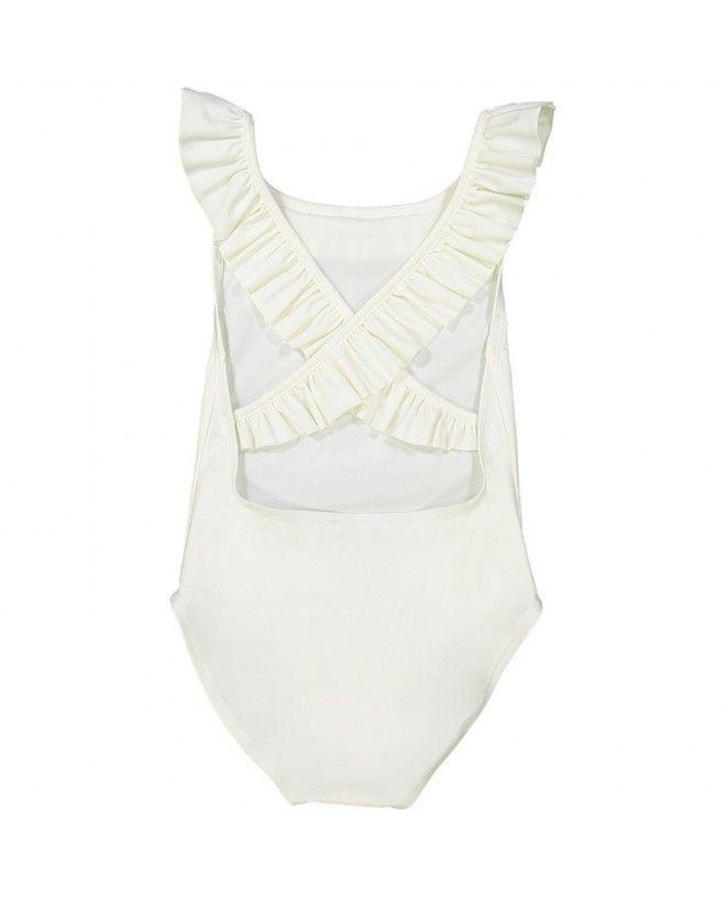 maillot de bain une piece anti-uv ivoire dos croisé pour filles