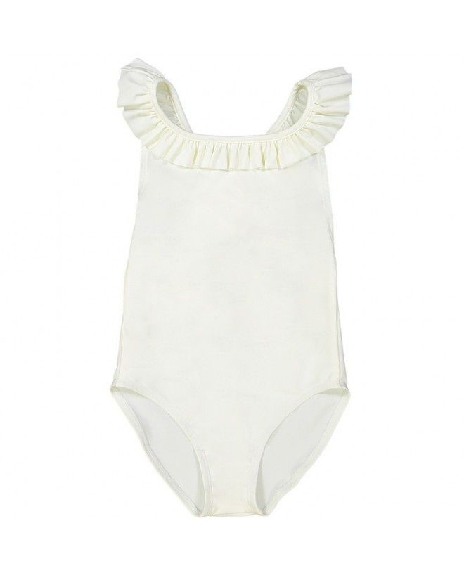 ivory sun protective one piece swimsuit with crossed back straps for girls
