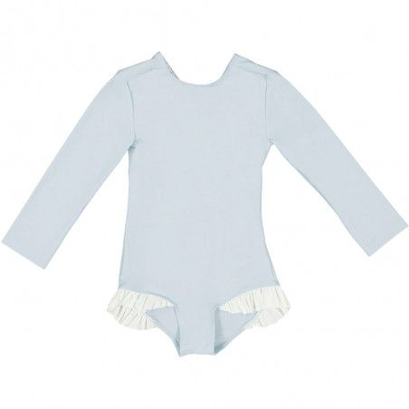 Long sleeve UV sun protective swimsuit for girls in Ash blue