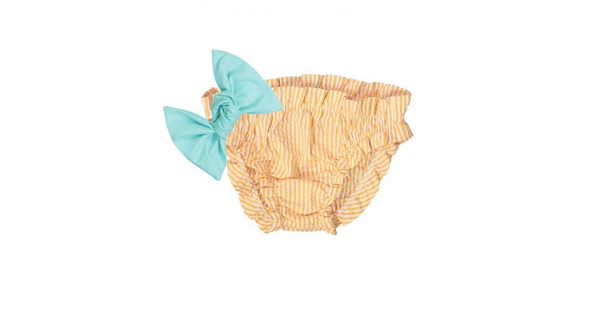 bikini orange à fronces en seersucker - orange seersucker bikini with frowns