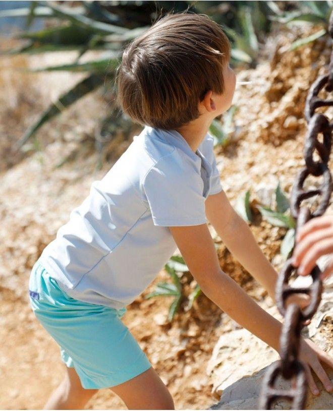 Boy wearing an Ash blue green sun protective rashguard for boy, baby and children