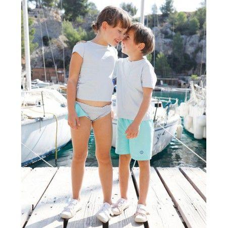 Garçon et fille portant un t-shirt anti UV Canopea bleu Ash